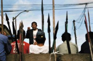 Peruvian natives clashes with police.