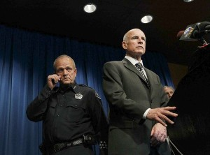 California Atty. Gen. Jerry Brown, with Hemet Police Chief Richard Dana, asks for the public's help in finding those who set up anti-police booby traps. (Robert Gauthier / Los Angeles Times / March 18, 2010)