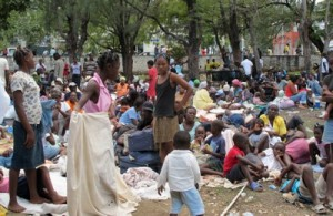 Homeless and hopeless haitians waiting for aid.