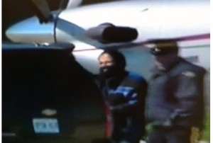 Canadian RCMP escorts one terror suspect at Buttonville Airport, Ontario.