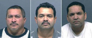 Jose Luis Arevalo (from left), Ramon Alberto Mindence and Nestor Gabriel Caballero Gutierrez were arrested in the attempted abduction of Columbia Sportswear Chairwoman Gert Boyle.