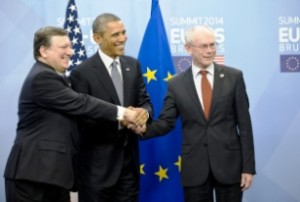 The Americas Security News.- EU-US Brussels Summit Herman Van Rompuy, Jose Manuel Barroso, and President Barack Obama.