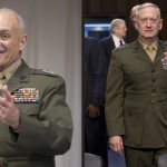 Newly appointed Director of Homeland Security (R) Gral. John Kelly and Secretary of Defense (R) Gral. James Mattis, both Marines. The pair have known each other a while, becoming friends after serving together in Iraq. While Mattis was the two-star general in charge of the 1st Marine Division in the 2003 invasion, Kelly served as his one-star assistant commander.
